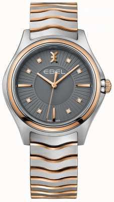 EBEL Women's Diamond Wave Gun Metal Grey Dial Two Tone Bracelet 1216309