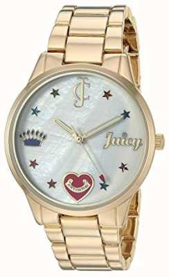 Juicy Couture Womens Gold Tone Steel Bracelet Watch With Coloured Markers JC-1016MPGB
