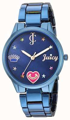 Juicy Couture Womens Blue Steel Bracelet | Coloured Markers | Blue Dial JC-1017BMBL