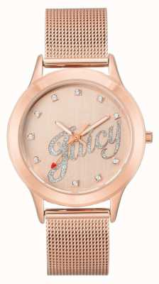 Juicy Couture Womens Rose Gold Tone Mesh Bracelet Juicy Script Watch JC-1032RGRG