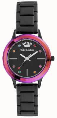 Juicy Couture Womens Small Black Bracelet Black Dial With Coloured Bezel JC-1051MTBK