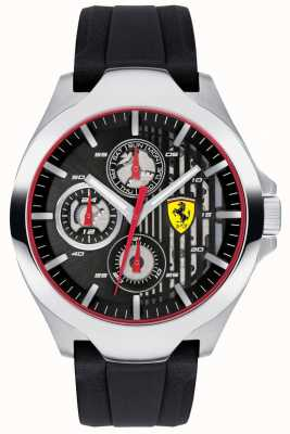 Scuderia Ferrari Mens Black Chronograph Dial Black Rubber Strap 0830510