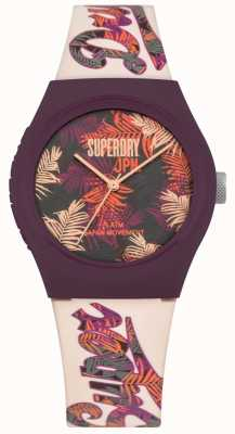 Superdry Urban Tropicana Purple And Pink Leaf Print Dial White Strap SYL247PV