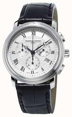 Frederique Constant Mens Classics Chronograph Black Leather Strap FC-292MC4P6