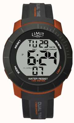 Limit Mens Active Digital Dual Time Chrono Grey/Orange 5676.66