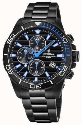 Festina Mens Black PVD Plated Bracelet Black Chrono Dial Watch Blue F20365/2