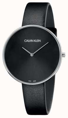 Calvin Klein Ladies Full Moon Black Leather Black Dial K8Y231C1