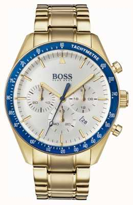 Boss Mens Trophy Watch White Chronograph Dial Gold Tone 1513631