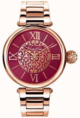 Thomas Sabo Womens Karma Rose Gold Tone Bracelet Red Sunray Dial Watch WA0306-265-212