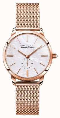 Thomas Sabo Womens Glam Spirit Rose Gold Tone Mesh Bracelet White Dial WA0303-265-213-33
