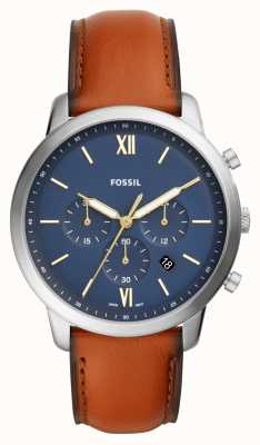 Fossil Mens Neutra Blue Chronograph Dial Brown Leather Strap Watch FS5453