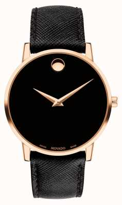 Movado Mens Museum Black Leather Strap Gold Plated Case 0607196