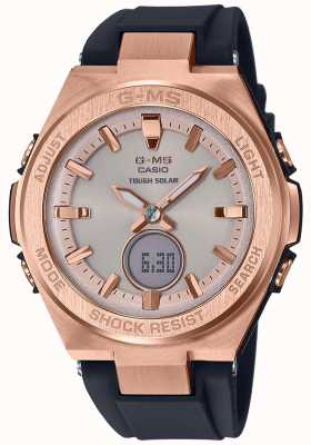 Casio G-MS Baby-G Rose Gold Tough Solar Black Strap MSG-S200G-1AER