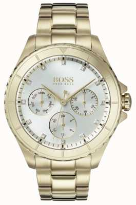 Boss Womens Premiere Gold Plated Bracelet Silver Dial 1502445