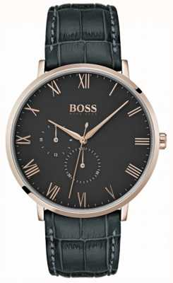 Hugo Boss William Classic Dark Grey Leather & Dial Plated Case 1513619
