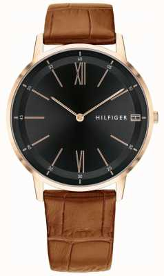 Tommy Hilfiger Mens Cooper Watch Brown Leather Black Dial Strap Steel Case 1791516