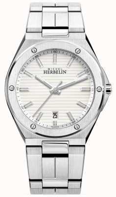 Michel Herbelin Mens Stainless Steel Bracelet White Watch 12245/B12