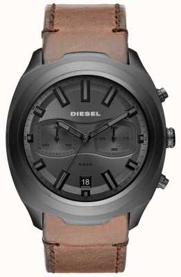 Diesel Mens Tumbler Grey Chronograph Brown Leather Strap Watch DZ4491