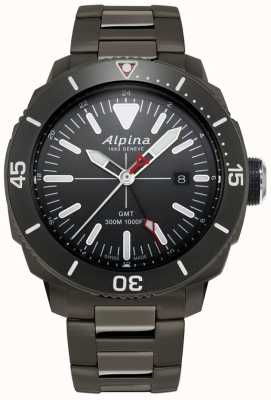 Alpina Mens Seastrong Diver GMT Watch With Black Titanium Coating AL-247LGG4TV6B