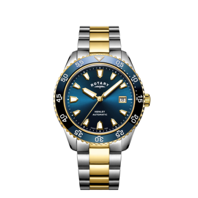 Rotary Mens Henley Automatic Two Tone Bracelet Blue Dial Watch GB05131/05