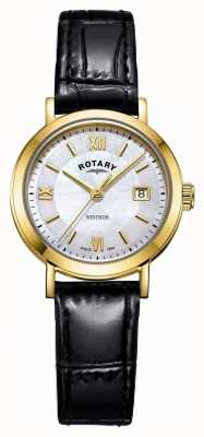 Rotary Womens Windsor Mother of Pearl Dial Black Leather Strap LS05303/41