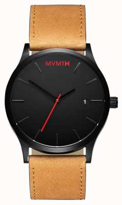 MVMT Classic Black Tan | Brown Leather Strap | Black Dial D-L213.5L.351