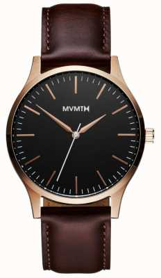 MVMT 40 Series Rose Gold Brown | Brown Strap | Black Dial D-MT01-BLBR