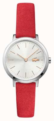 Lacoste Moon Small Red Leather Strap Silver Dial 2001048