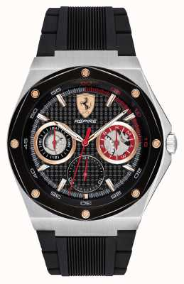 Scuderia Ferrari Mens Aspire Black Rubber Strap Gold Accents Date Display 0830556
