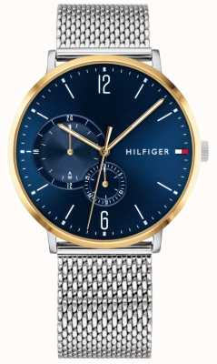 Tommy Hilfiger Men's Milanese Stainless Steel Blue Dial Gold Plated Case 1791505