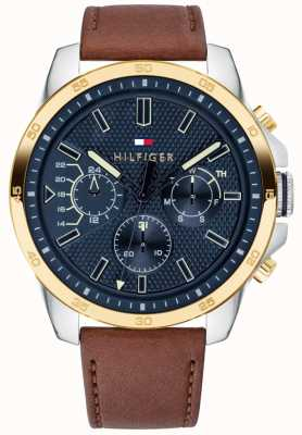 Tommy Hilfiger Men's Brown Leather Blue Dial Gold Plated Case 1791561
