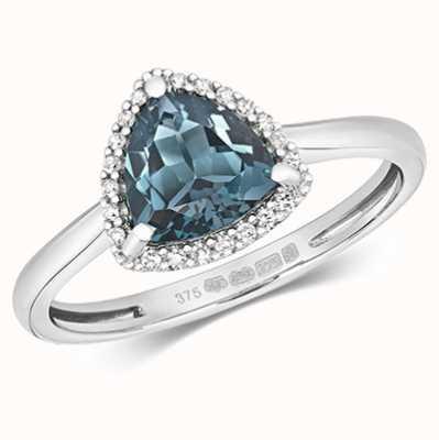 James Moore TH 9k White Gold Diamond London Blue Topaz Ring Rd453wlb