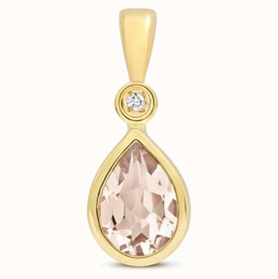 Treasure House 9k Yellow Gold Morganite Diamond Pendant Pd248m