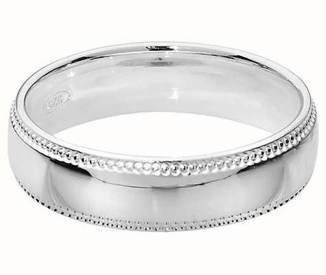 Treasure House Silver Trad Court Millgrain 5 mm Wedding Band Ring G7755/N