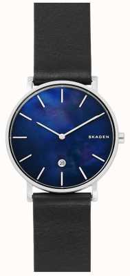 Skagen Mens Hagen Black Leather Strap Blue Dial Watch SKW6471