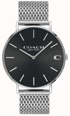 Coach Mens Charles Silver Mesh Bracelet Black Dial Watch 14602144