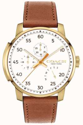 Coach Mens Bleecker Watch Multi Function White Dial 14602340