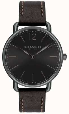 Coach Mens Delancey Slim Watch Black Dial BlackLeather Strap 14602346