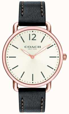 Coach Mens Delancey Slim Watch White Dial Black Leather Strap 14602347