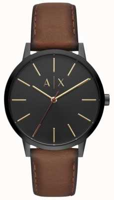 Armani Exchange Cayde Mens Brown Leather Strap Black Dial AX2706