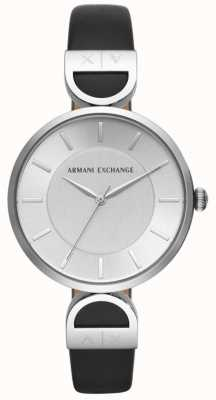 Armani Exchange Brooke Womens Black Leather Strap Silver Dial AX5323