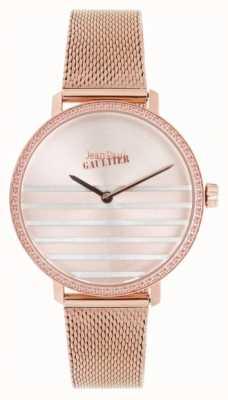 Jean Paul Gaultier Glam Navy Womens Rose Gold Tone Mesh Bracelet Watch JP8505601