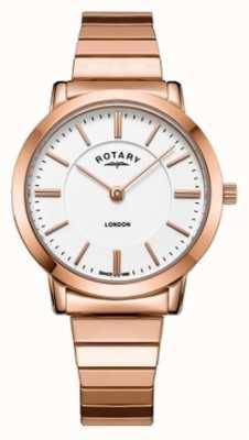 Rotary Womens London Rose Gold Steel Expanding Bracelet Watch LB00767/02