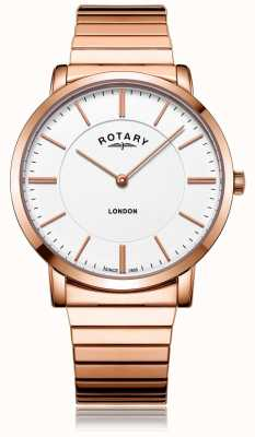Rotary Mens London Rose Gold Steel Expanding Bracelet Watch GB02767/02