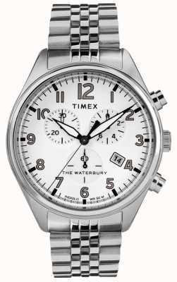 Timex Mens Waterbury Traditional White Chrono Steel Bracelet TW2R88500