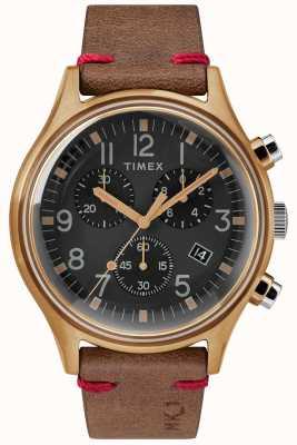 Timex Mens MK1 SST Chrono 42mm Bronze Case Black Dial Brown Strap TW2R96300