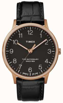 Timex Waterbury Mens Classic Rose Gold Watch Black Leather Strap TW2R96000