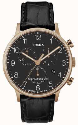 Timex Mens Waterbury Classic Rose Gold Watch Black Strap TW2R72000D7PF