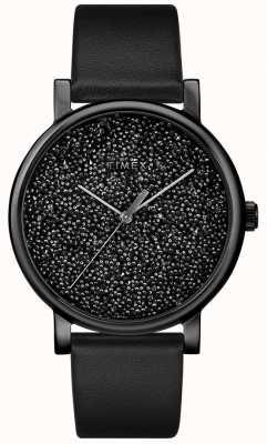 Timex Women's Black Leather Watch With Swarovski Crystals TW2R95100D7PF