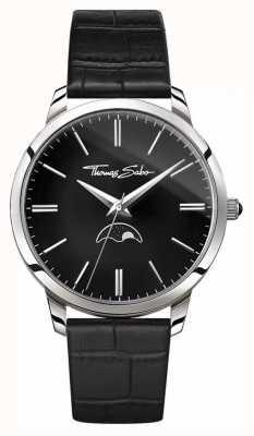 Thomas Sabo Mens Rebel At Heart Spirit Moonphase Watch Black Leather WA0325-218-203-42